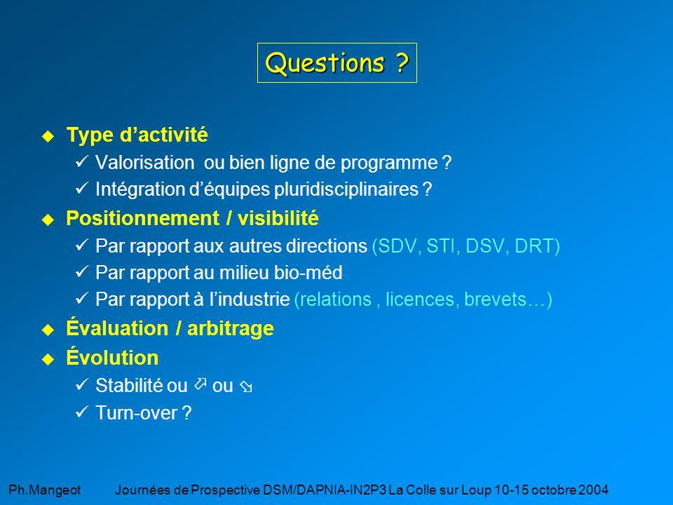 Questions Type d'activité Positionnement / visibilité
