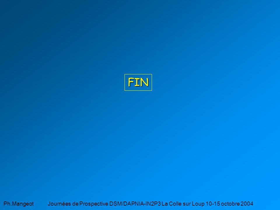 FIN Ph.Mangeot Journées de Prospective DSM/DAPNIA-IN2P3 La Colle sur Loup 10-15 octobre 2004.