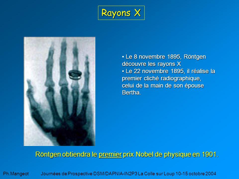 Rayons X Röntgen obtiendra le premier prix Nobel de physique en 1901.