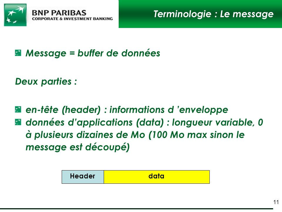 Terminologie : Le message