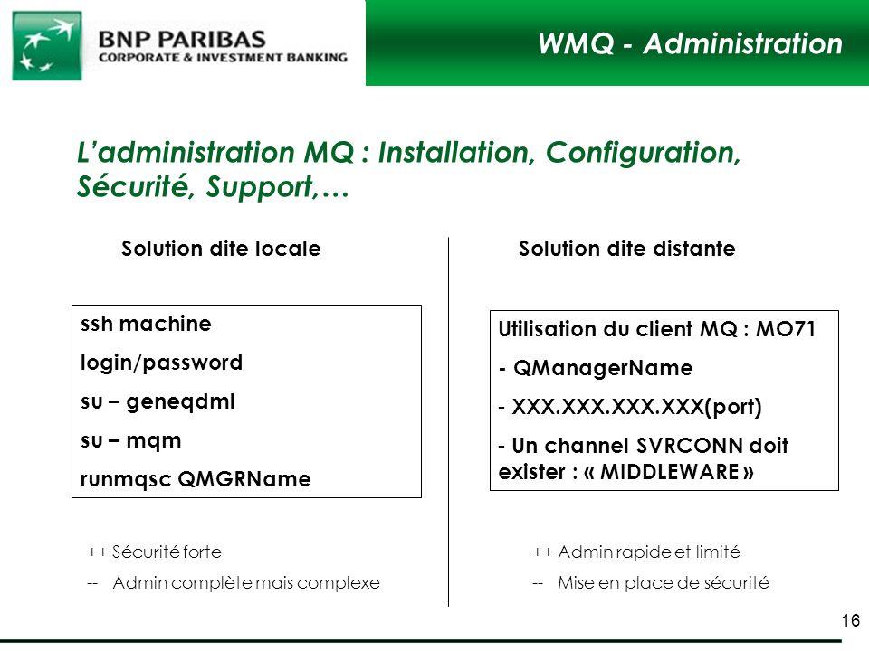 L'administration MQ : Installation, Configuration, Sécurité, Support,…