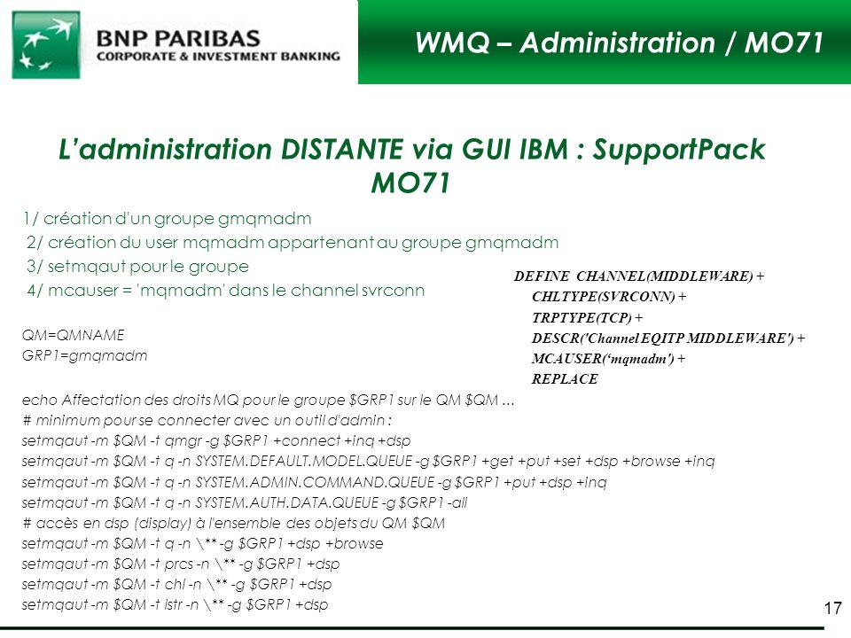 WMQ – Administration / MO71