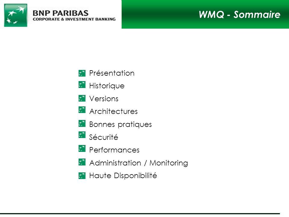 WMQ - Sommaire Présentation Historique Versions Architectures