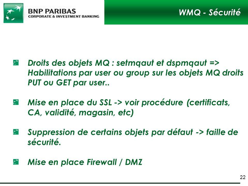 WMQ - Sécurité Droits des objets MQ : setmqaut et dspmqaut => Habilitations par user ou group sur les objets MQ droits PUT ou GET par user..