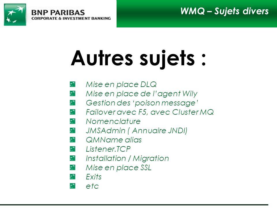 Autres sujets : WMQ – Sujets divers Mise en place DLQ