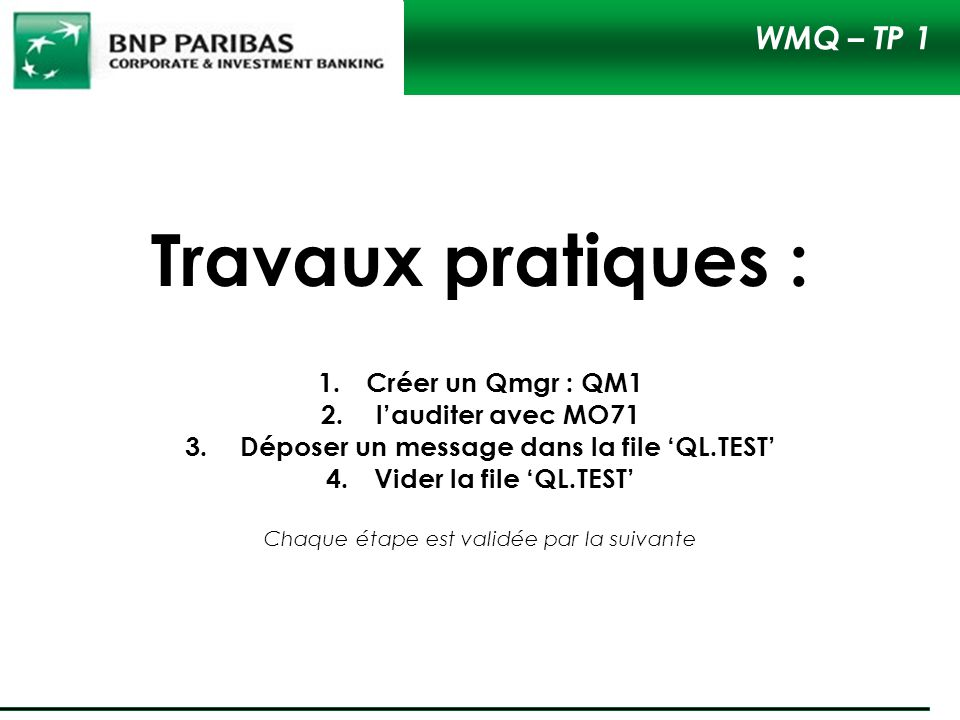 Déposer un message dans la file 'QL.TEST'