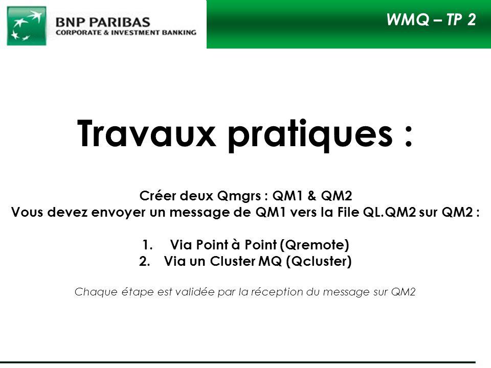 Travaux pratiques : WMQ – TP 2 Créer deux Qmgrs : QM1 & QM2