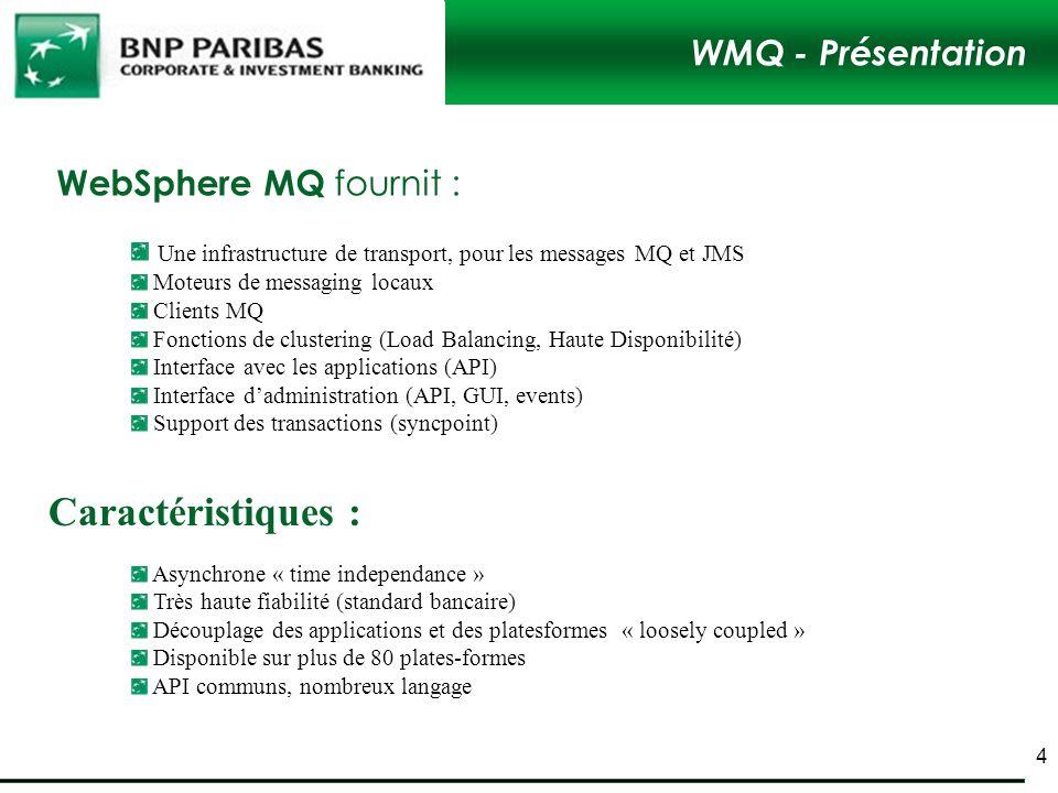 Caractéristiques : WMQ - Présentation WebSphere MQ fournit :