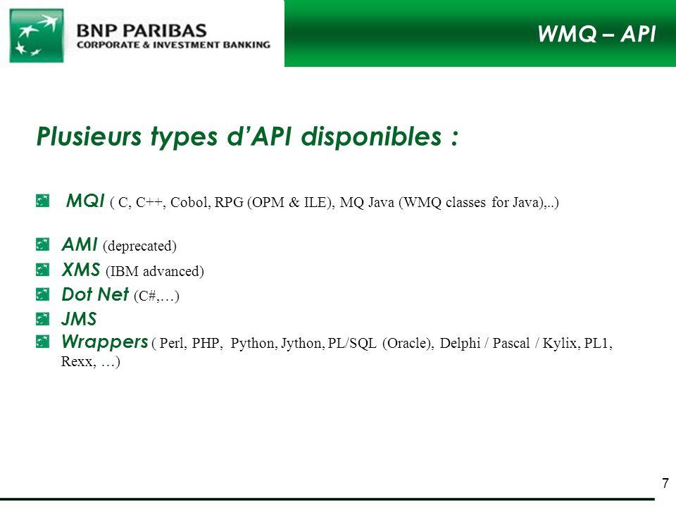 Plusieurs types d'API disponibles :