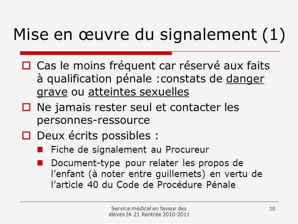 Mise en œuvre du signalement (1)
