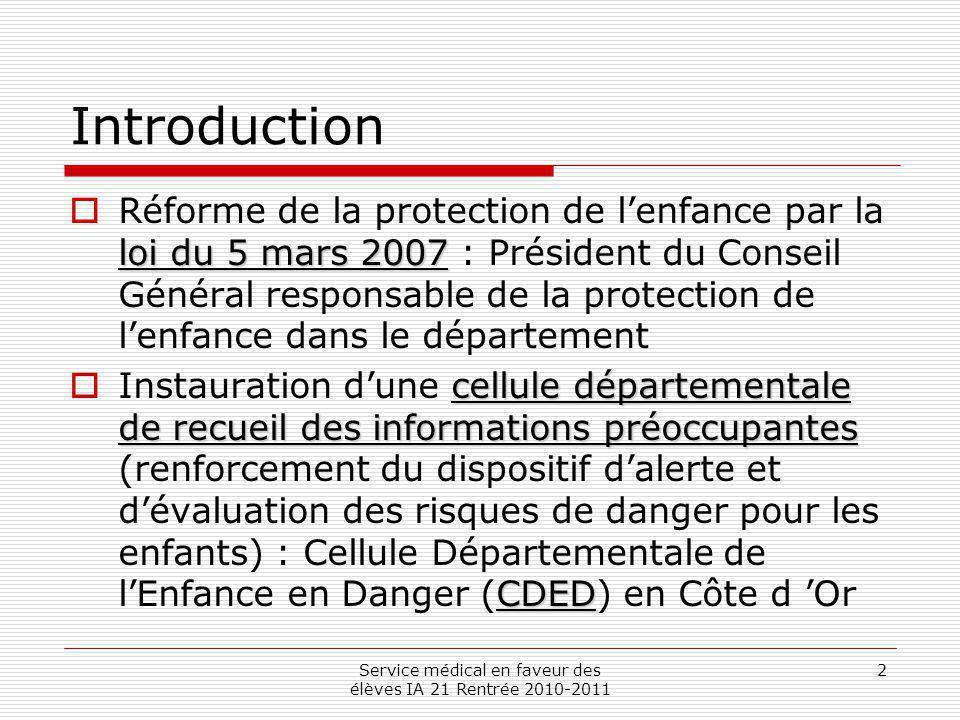 Service médical en faveur des élèves IA 21 Rentrée 2010-2011