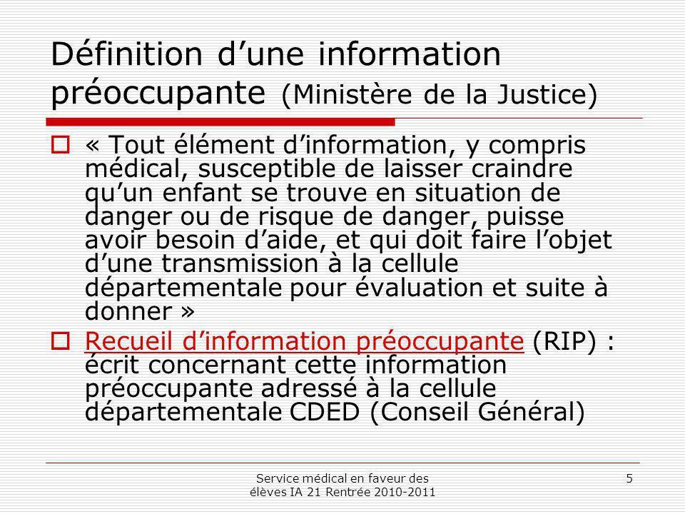 Définition d'une information préoccupante (Ministère de la Justice)