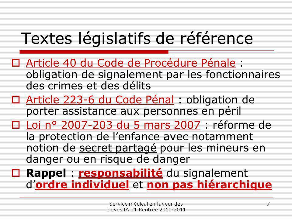 Textes législatifs de référence