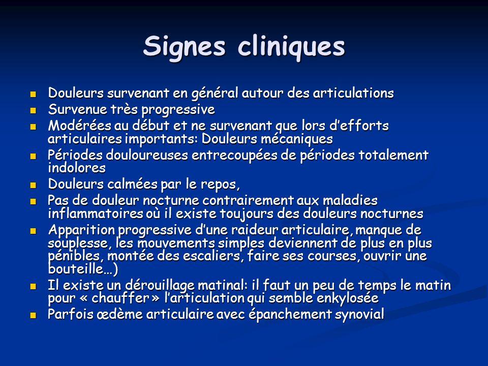 Signes cliniques Douleurs survenant en général autour des articulations. Survenue très progressive.