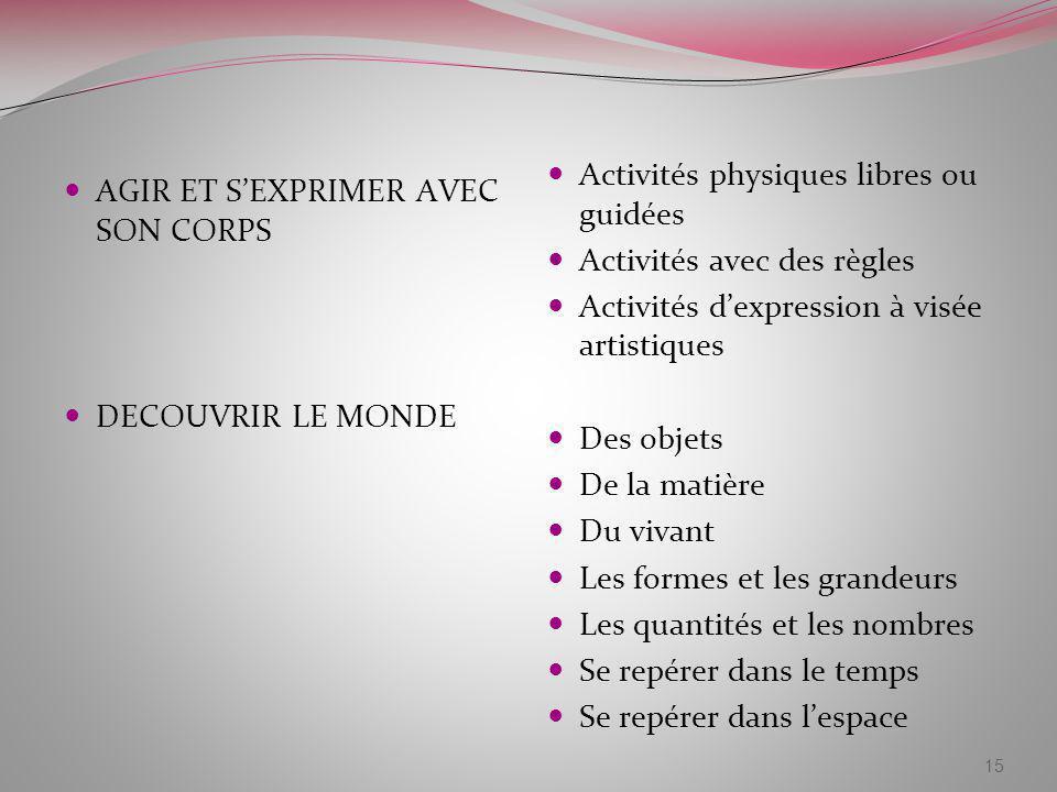 Activités physiques libres ou guidées Activités avec des règles