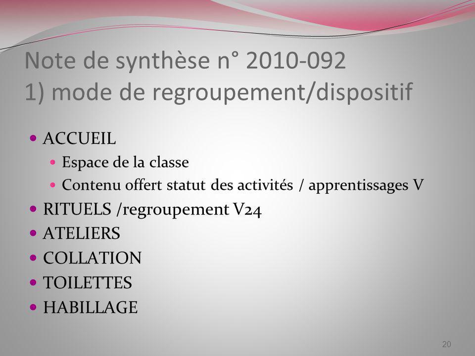 Note de synthèse n° 2010-092 1) mode de regroupement/dispositif