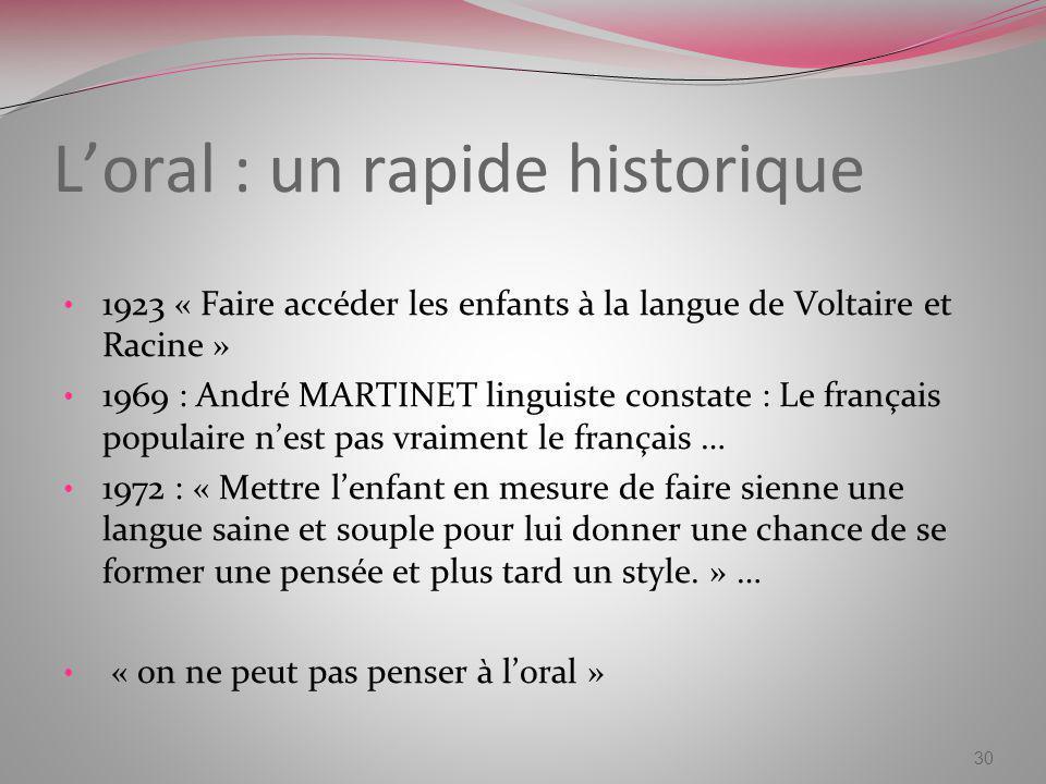 L'oral : un rapide historique