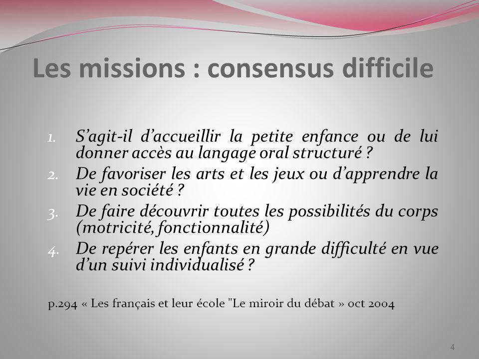 Les missions : consensus difficile