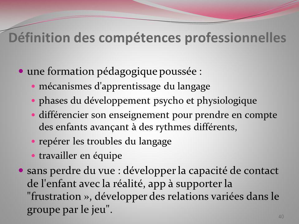 Définition des compétences professionnelles