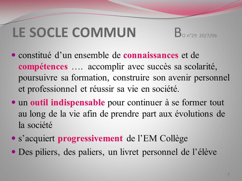 LE SOCLE COMMUN BO n°29 20/7/06