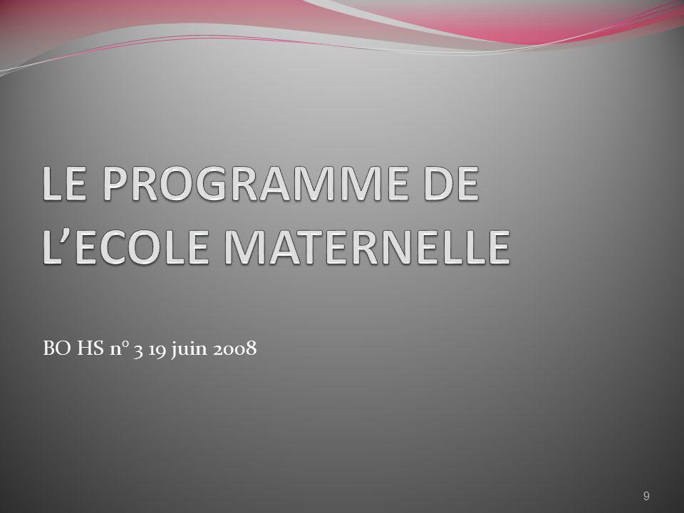 LE PROGRAMME DE L'ECOLE MATERNELLE