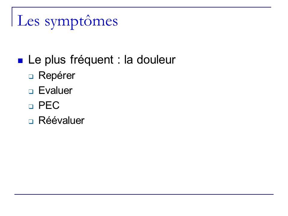 Les symptômes Le plus fréquent : la douleur Repérer Evaluer PEC