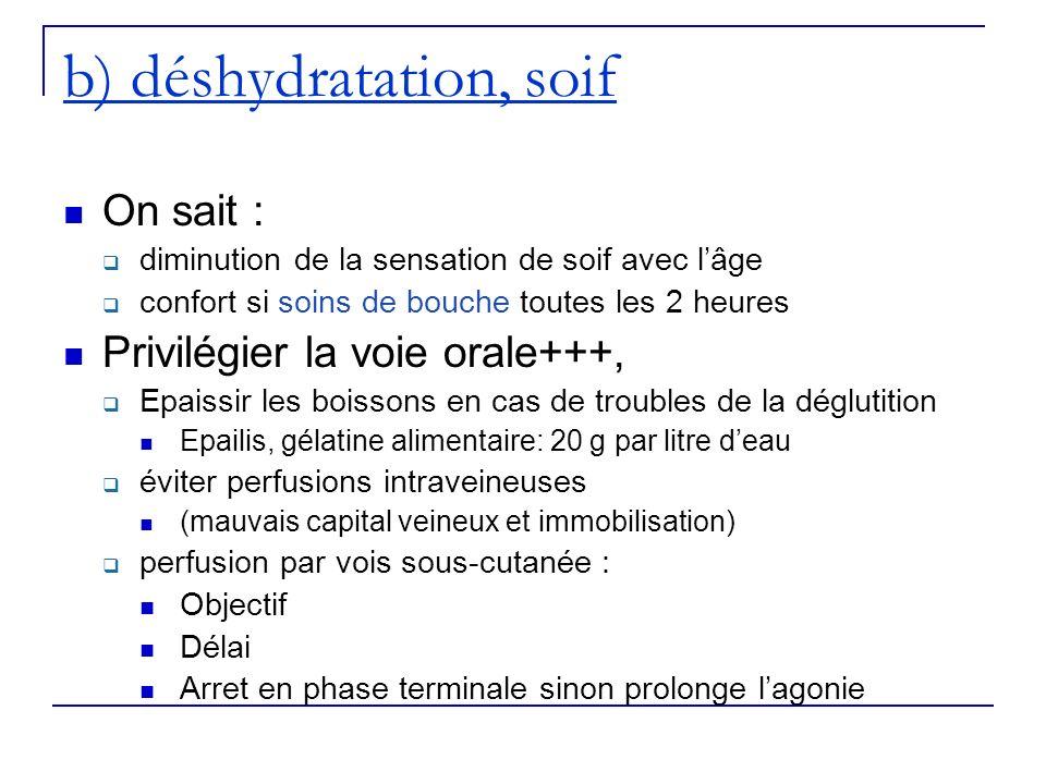 b) déshydratation, soif