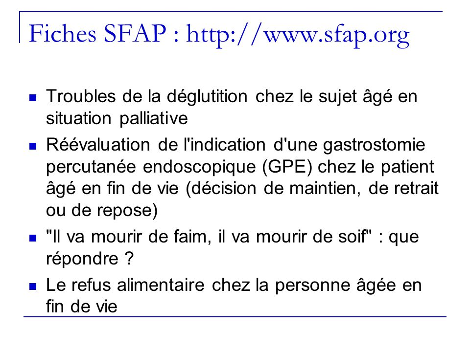 Fiches SFAP : http://www.sfap.org