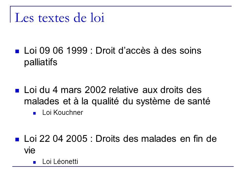 Les textes de loiLoi 09 06 1999 : Droit d'accès à des soins palliatifs.