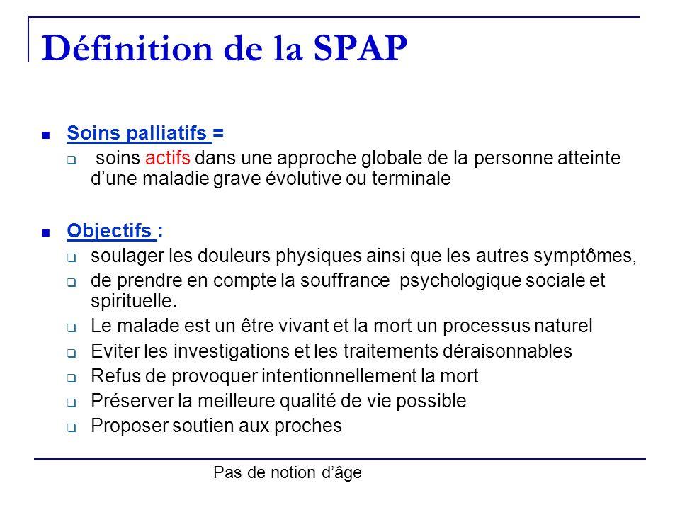Définition de la SPAP Soins palliatifs = Objectifs :