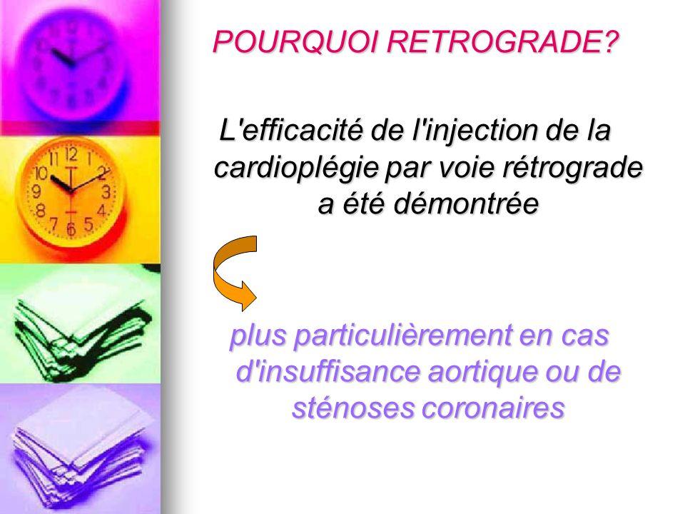 POURQUOI RETROGRADE L efficacité de l injection de la cardioplégie par voie rétrograde a été démontrée.