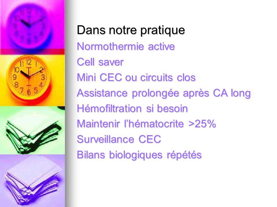 Dans notre pratique Normothermie active Cell saver