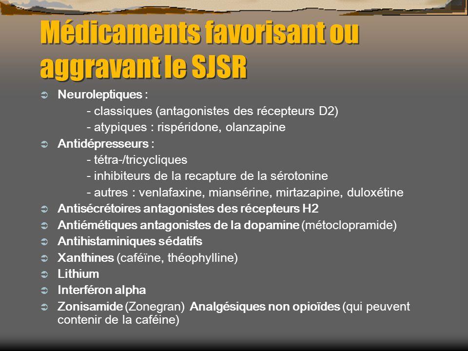 Médicaments favorisant ou aggravant le SJSR