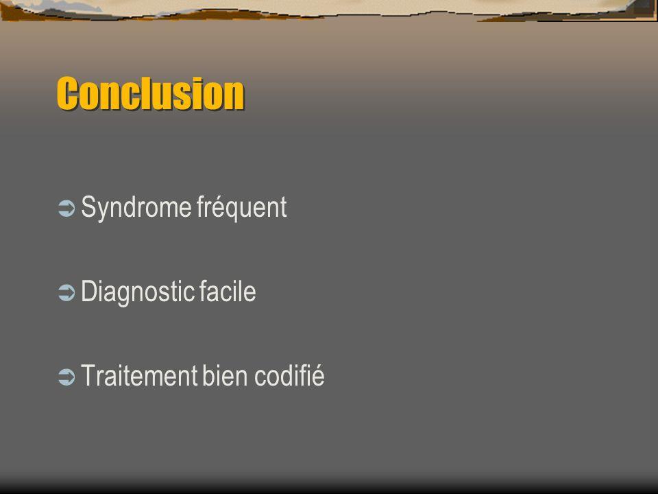 Conclusion Syndrome fréquent Diagnostic facile Traitement bien codifié