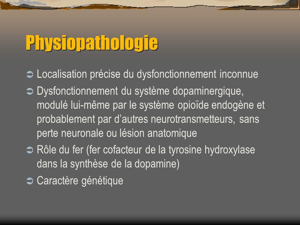 Physiopathologie Localisation précise du dysfonctionnement inconnue