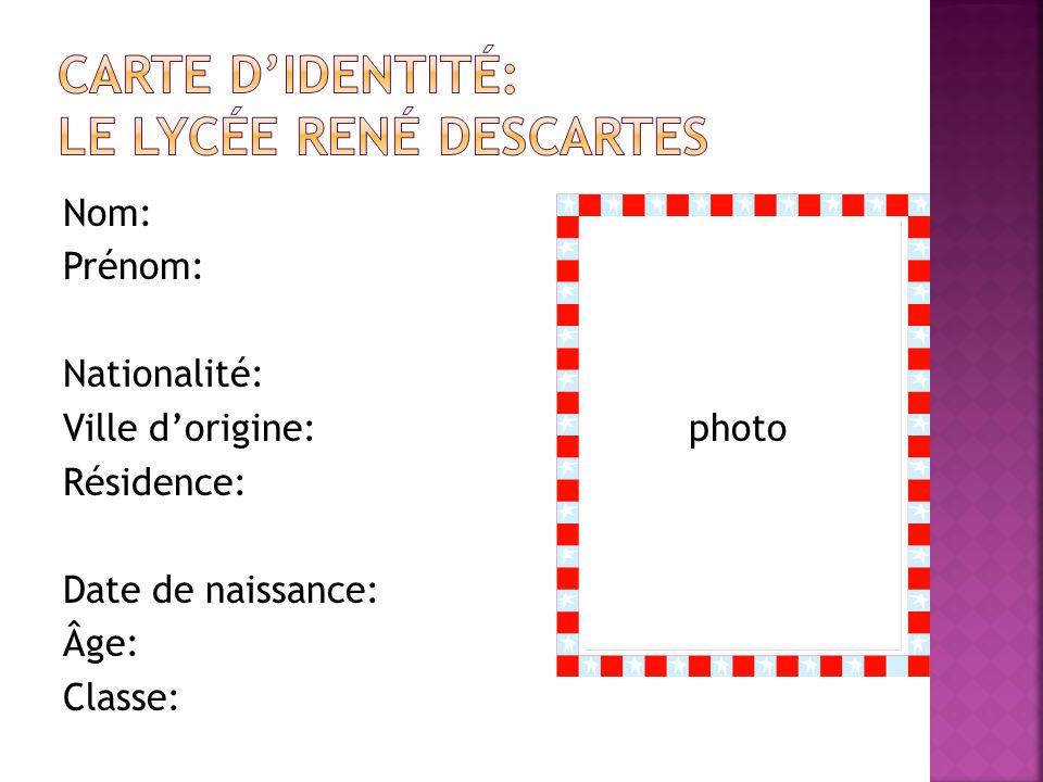 Carte d'identité: Le Lycée rené descartes