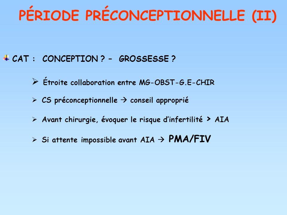 PÉRIODE PRÉCONCEPTIONNELLE (II)