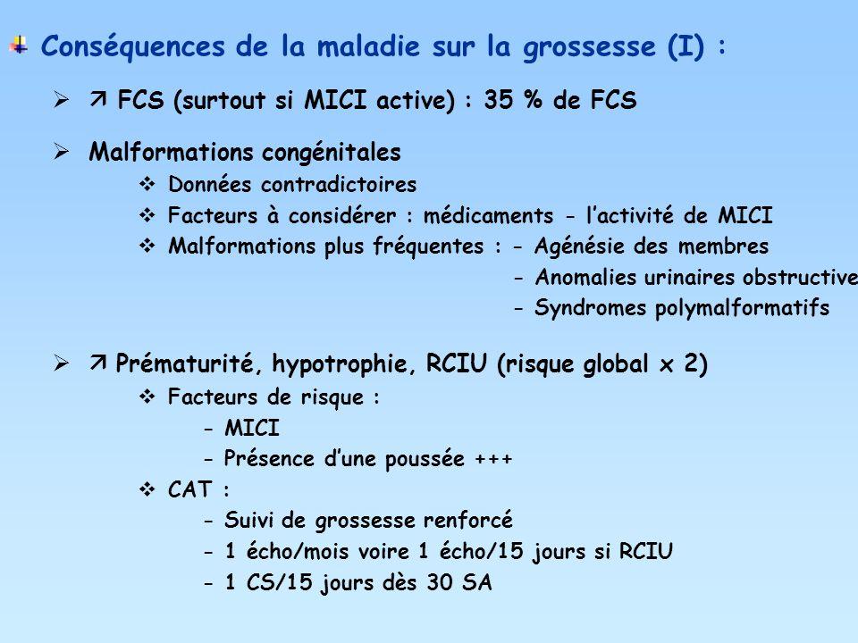 Conséquences de la maladie sur la grossesse (I) :