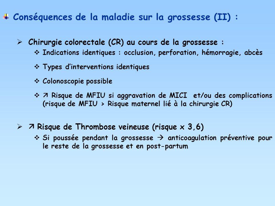 Conséquences de la maladie sur la grossesse (II) :