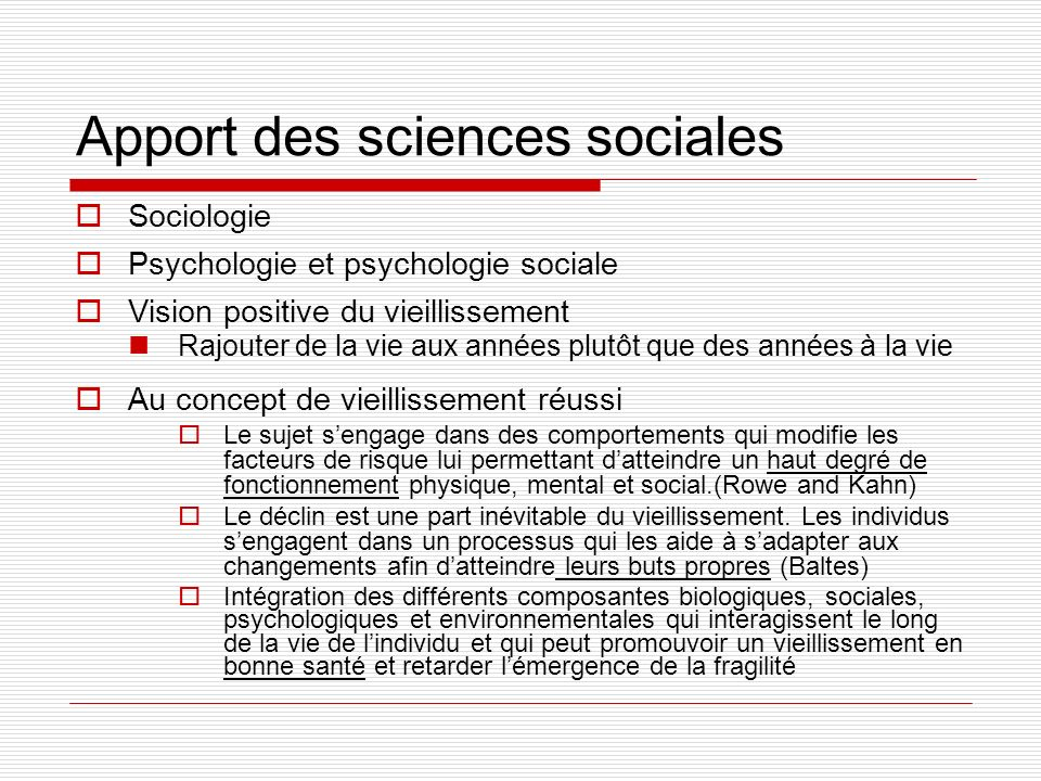 Apport des sciences sociales