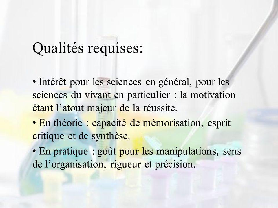 Qualités requises: