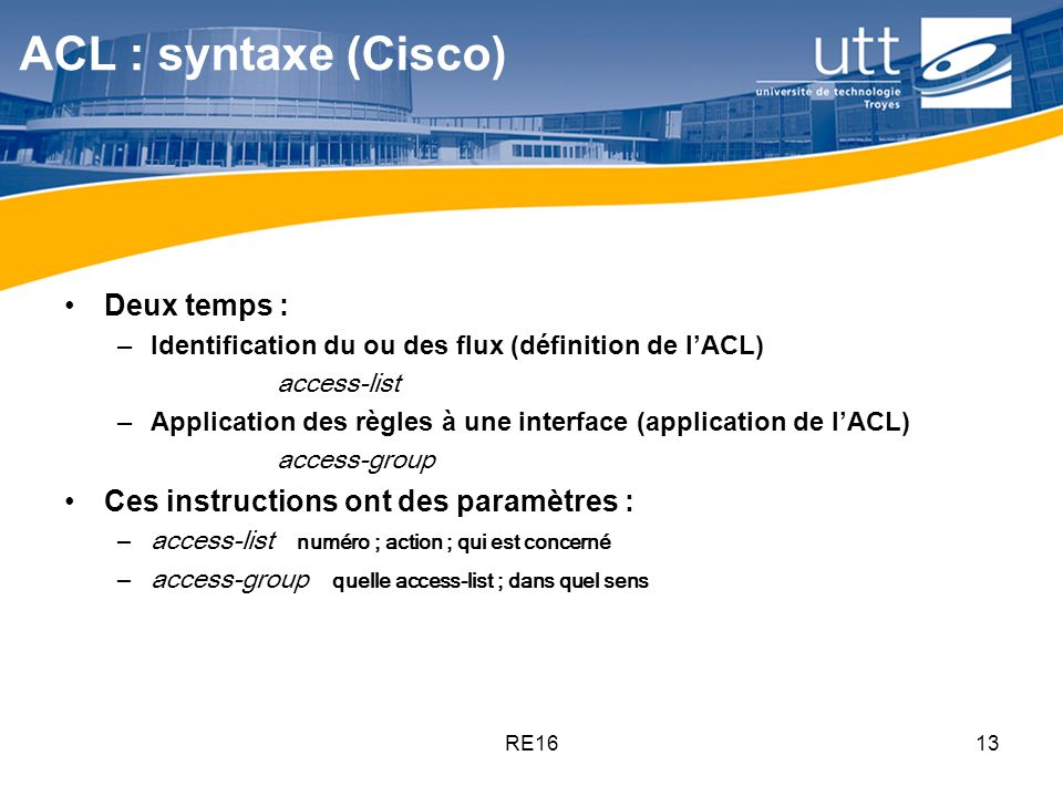 ACL : syntaxe (Cisco) Deux temps :