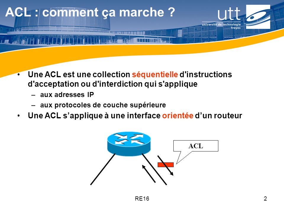 ACL : comment ça marche Une ACL est une collection séquentielle d instructions d acceptation ou d interdiction qui s applique.