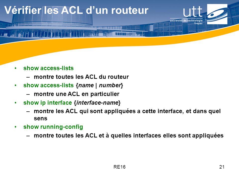 Vérifier les ACL d'un routeur