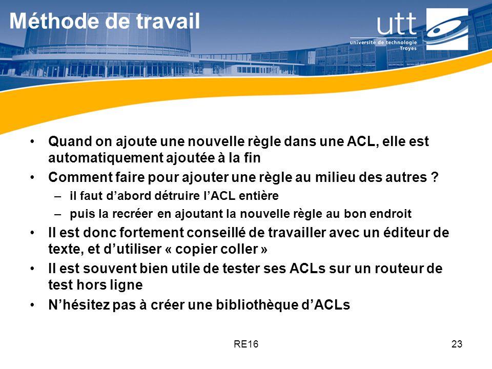 Méthode de travail Quand on ajoute une nouvelle règle dans une ACL, elle est automatiquement ajoutée à la fin.