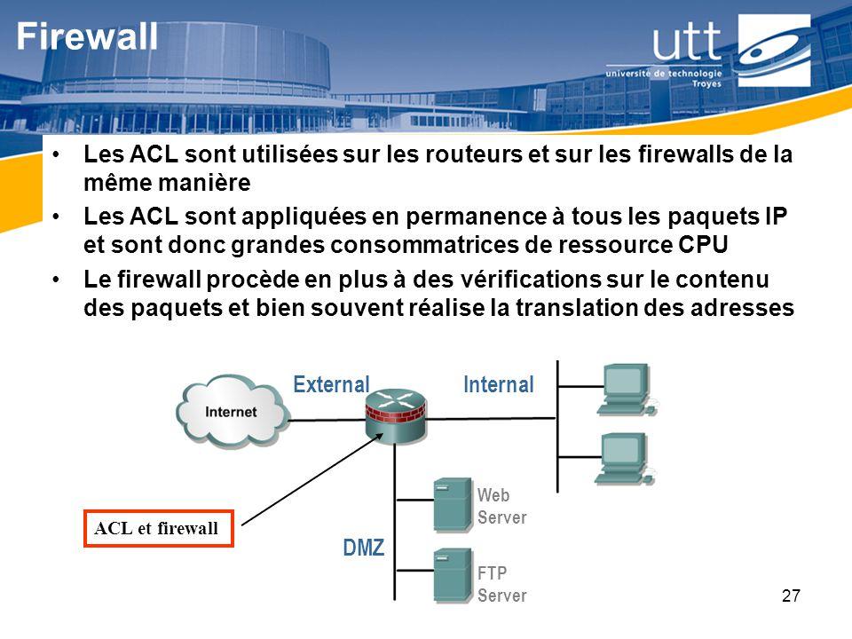 Firewall Les ACL sont utilisées sur les routeurs et sur les firewalls de la même manière.