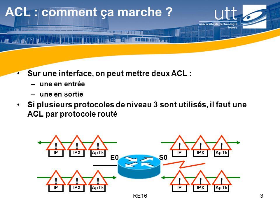 ACL : comment ça marche Sur une interface, on peut mettre deux ACL : une en entrée. une en sortie.
