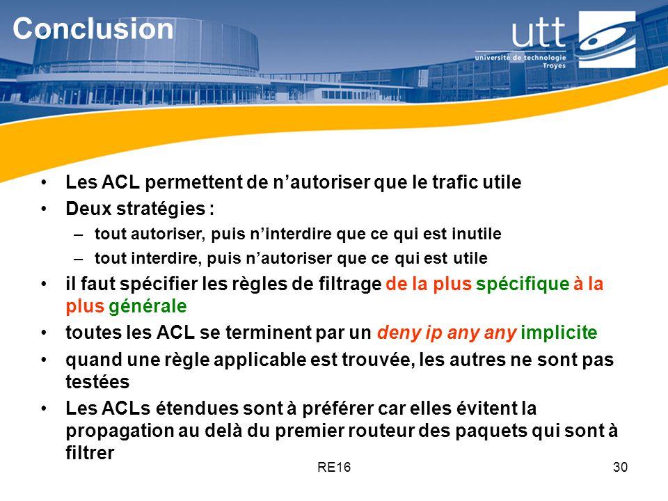 Conclusion Les ACL permettent de n'autoriser que le trafic utile