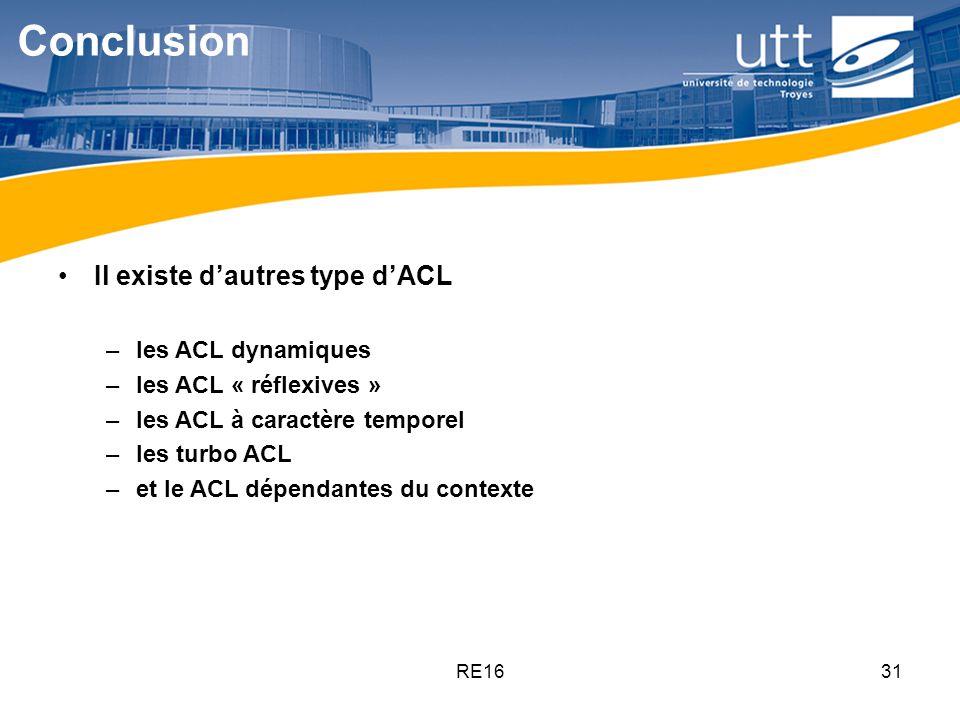 Conclusion Il existe d'autres type d'ACL les ACL dynamiques