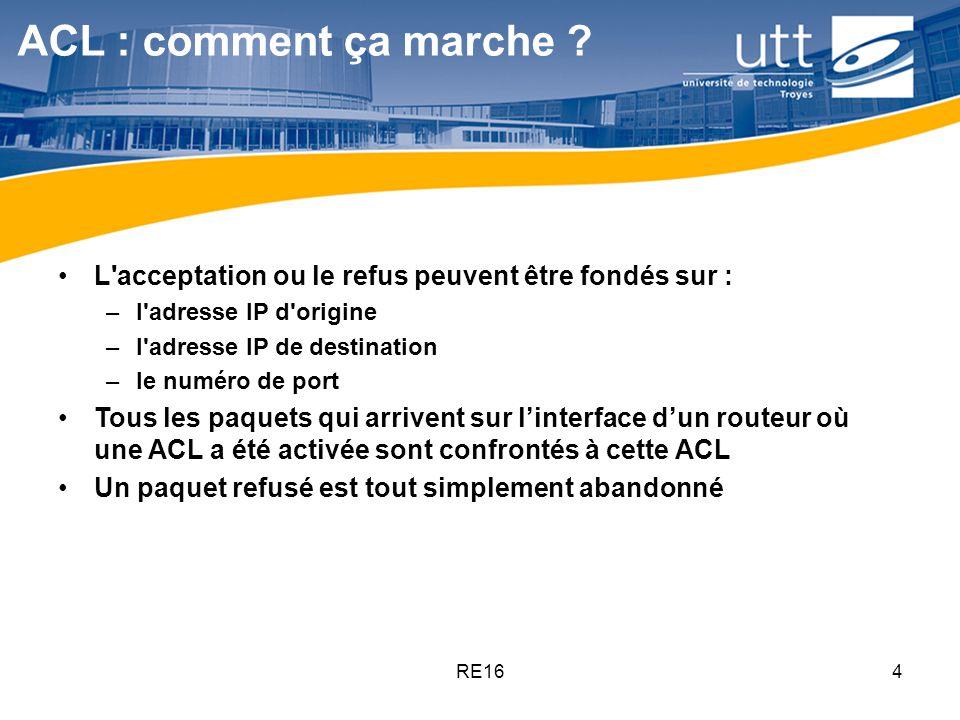 ACL : comment ça marche L acceptation ou le refus peuvent être fondés sur : l adresse IP d origine.